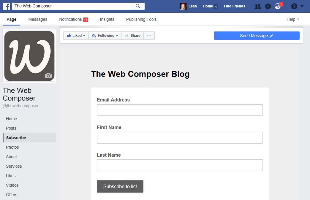 The Web Composer Facebook Subscribe Tab